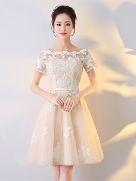 Elegant A-Line Appliques Short Sleeves Sashes Off-the-Shoulder Knee-Length Homecoming Dress