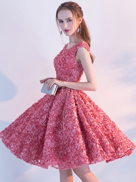 Charming A-Line Sashes Cap Sleeves Crystal Knee-Length Homecoming Dress & fairy Homecoming Dresses