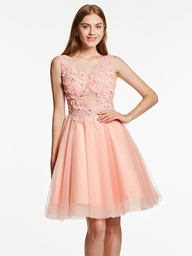 A-Line V-Neck Appliques Beaded Flowers Homecoming Dress