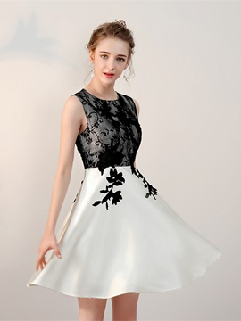 Classic A-Line Scoop Appliques Lace Short Homecoming Dress