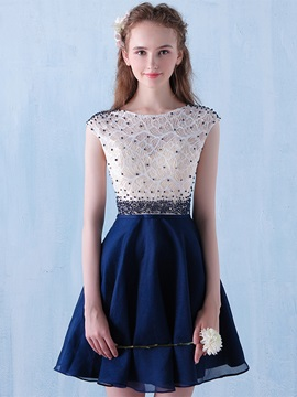 Attractive A-Line Scoop Beading Lace Short Homecoming Dress & Homecoming Dresses under 300