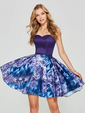 Pretty A-Line Sweetheart Printed Homecoming Dress
