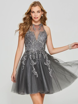 Exquisite Jewel A-Line Appliques Lace Short Homecoming Dress