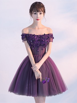 Nice A-Line Short Sleeves Appliques Beading Flowers Short Homecoming Dress & Homecoming Dresses from china
