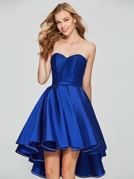Fancy A-Line Sweetheart Lace Sequins Asymmetry Homecoming Dress & inexpensive Homecoming Dresses