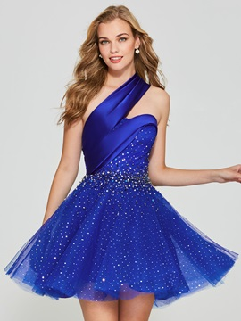 Attractive A-Line Beading One-Shoulder Short Homecoming Dress