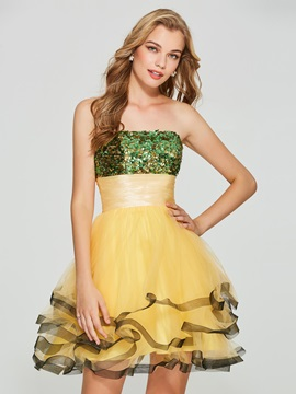 Chic Strapless A-Line Sequins Pleats Mini Homecoming Dress