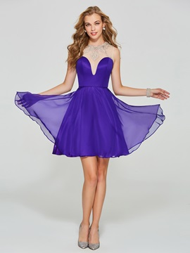Jewel Neck Beading Button Back Homecoming Dress