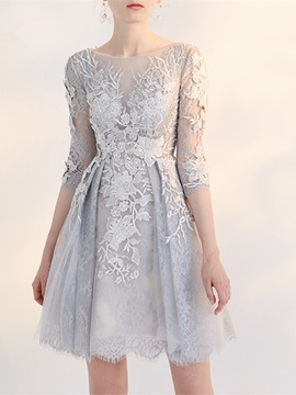 Gorgeous A-Line Bateau 3/4 Length Sleeves Appliques Lace Short Homecoming Dress & elegant Homecoming Dresses