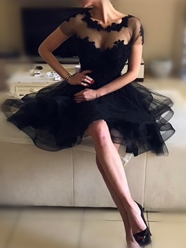Elegant A-Line Beading Draped Ruched Scoop Backless Short Sleeves Knee-Length Homecoming Dress & colored Homecoming Dresses
