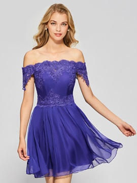 Vintage A-Line Off-the-Shoulder Button Lace Short Homecoming Dress & Homecoming Dresses for sale