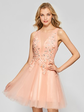 Charming A-Line Appliques Beading Button Scoop Short Homecoming Dress & Homecoming Dresses for sale