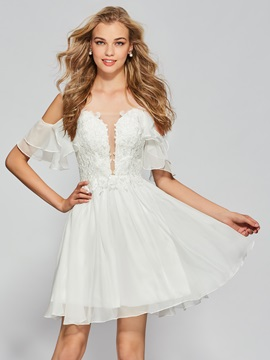 Spaghetti Straps Beading Lace Ruffles Homecoming Dress