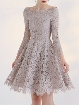 Elegant A-Line Lace Off-the-Shoulder Long Sleeves Short Homecoming Dress & vintage style Homecoming Dresses