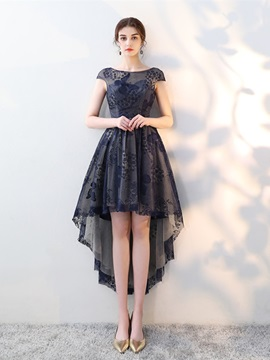 A-Line Bateau Lace Asymmetry Homecoming Dress