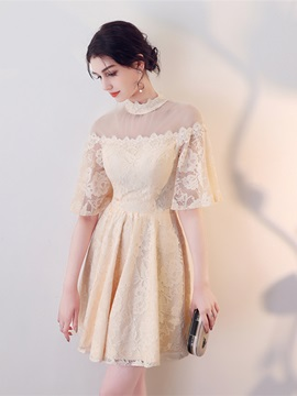 A-Line High Neck Lace Mini Homecoming Dress