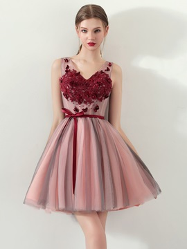 A-Line Appliques Bowknot Sashes Mini Homecoming Dress