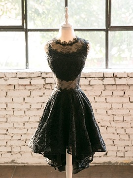 A-Line Lace Jewel High Low Homecoming Dress