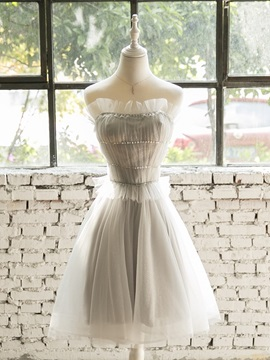 A-Line Scalloped-Edge Beading Homecoming Dress