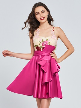 A-Line Scoop Appliques Pleats Ruffles Homecoming Dress