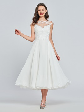 A-Line Button Lace Tea-Length Homecoming Dress