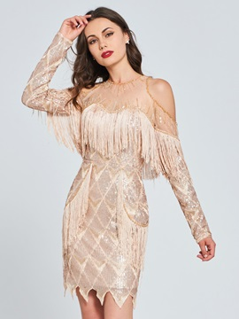 Open Shoulder Lace Beaded Tassel Sequins Cocktail Dress
