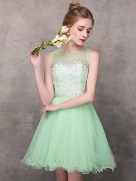 A-Line Jewel Beaded Crystal Homecoming Dress