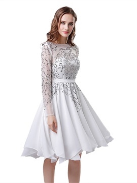 A-Line Bateau Beading Homecoming Dress