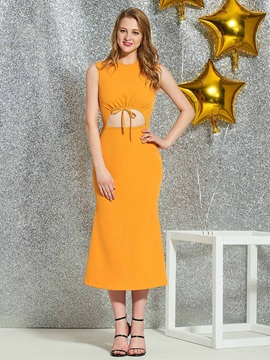 Sleeveless Tea-Length Scoop Sheath Homecoming Dress 2019