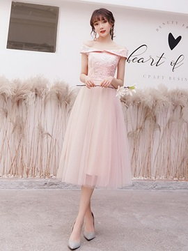 Off-The-Shoulder Short Sleeves Tea-Length A-Line Homecoming Dress 2019
