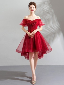 Off-The-Shoulder Appliques A-Line Short Sleeves Homecoming Dress 2019