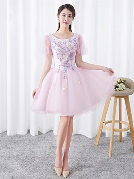 Beading Short Sleeves A-Line Knee-Length Homecoming Dress 2019