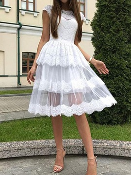 Cap Sleeves Knee-Length A-Line Appliques Homecoming Dress 2019
