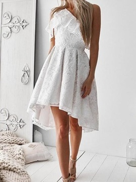 Lace A-Line Asymmetry One Shoulder Homecoming Dress 2019