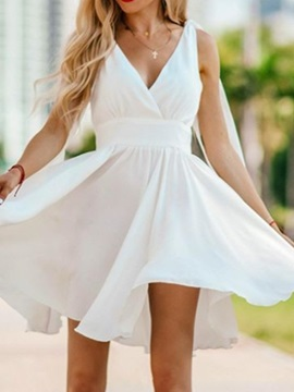 Mini A-Line V-Neck Sleeveless Homecoming Dress 2019 & inexpensive Homecoming Dresses