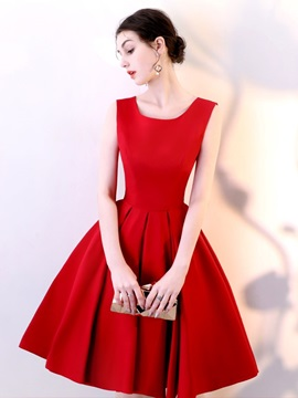 Sleeveless Scoop A-Line Bowknot Homecoming Dress 2019