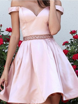 Off-The-Shoulder A-Line Beading Short Homecoming Dress 2019