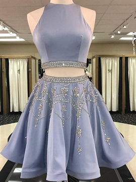 A-Line Sleeveless Short Jewel Homecoming Dress 2019 & attractive Homecoming Dresses