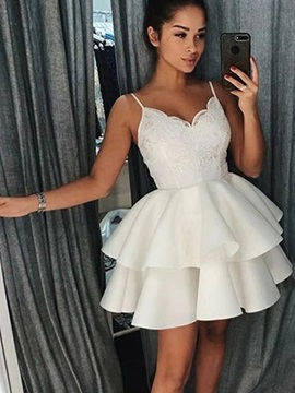 Sleeveless Spaghetti Straps Mini Appliques Graduation Dress 2019