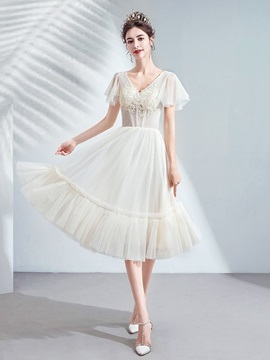 A-Line Appliques Short Sleeves V-Neck Homecoming Dress 2019