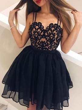 A-Line Straps Appliques Black Cocktail Dress 2019
