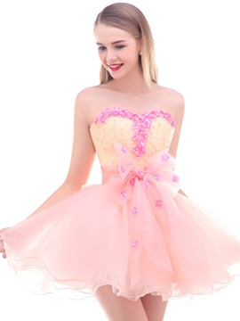 Sweetheart Flowers Pearls Homecoming Dress 2019
