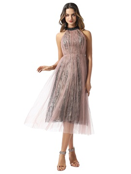 Tea-Length A-Line Halter Beading Homecoming Dress 2020 & Homecoming Dresses on sale