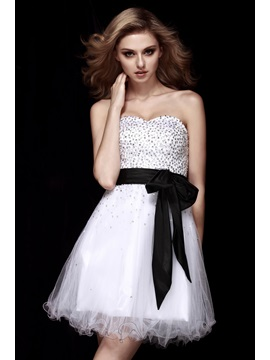 A-Line Sweetheart Sashes Sequins Dasha's Short White Homecoming Dress & Homecoming Dresses on sale
