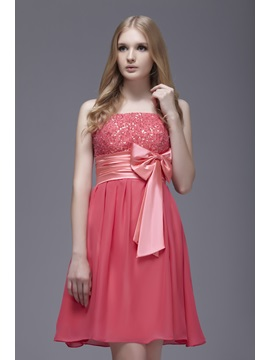 Spaghetti Straps Short Bowknot Sasha's Sweet 16 Dress & Homecoming Dresses under 300