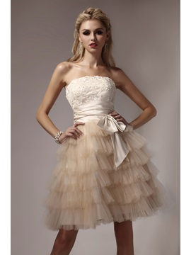 High Quality Strapless Tiered Appliques Short Dasha's Prom/Homecoming Dress & petite Homecoming Dresses