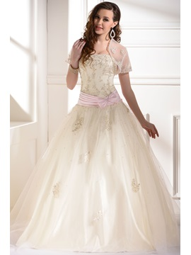 Gorgeous A-Line Strapless Floor-length Appliques Sequins Bowknot Quinceanera Dress With Jacket/Shawl
