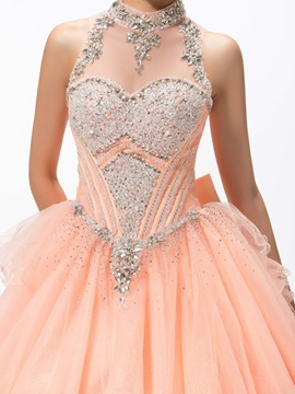 Gorgeous High Neck Beading Bowknot Floor-Length Lace-up Quinceanera Dress