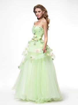 Dramatic Sweetheart Flowers Tiered Beading Floor Length Lace-up Quinceanera Dress