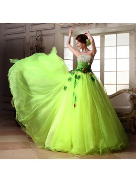Glamorous Strapless Sequins Beading Flowers A-Line Quinceanera Dress